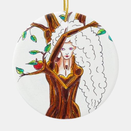 ninfa del manzano adorno redondo de cerámica