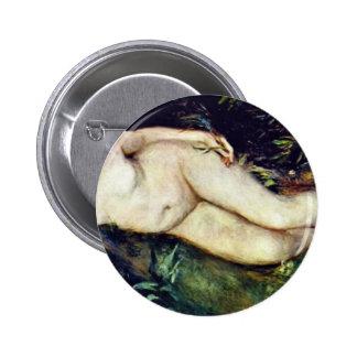Ninfa en la fuente de Pierre-Auguste Renoir Pin Redondo 5 Cm