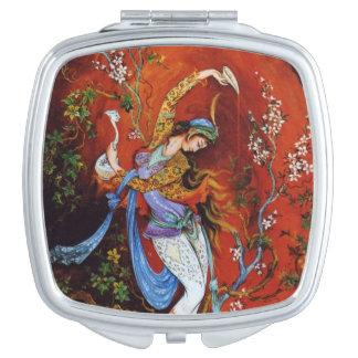Ninfa miniatura persa del baile espejo de viaje