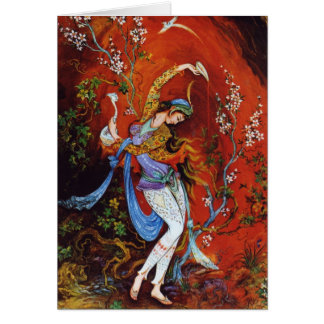 Ninfa miniatura persa del baile tarjeta de felicitación
