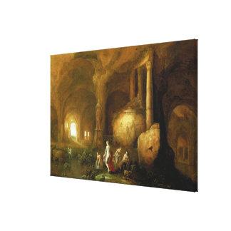 Ninfas que se bañan por ruinas clásicas impresiones de lienzo