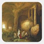 Ninfas que se bañan por ruinas clásicas colcomanias cuadradases