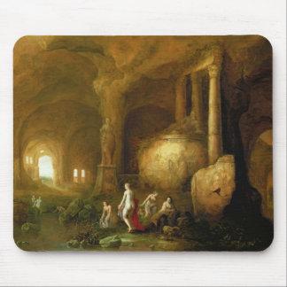 Ninfas que se bañan por ruinas clásicas alfombrillas de ratones