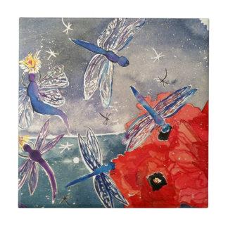 Ninfas y pintura de la acuarela de la libélula azulejo cuadrado pequeño