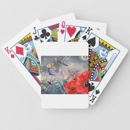 Ninfas y pintura de la acuarela de la libélula baraja de cartas