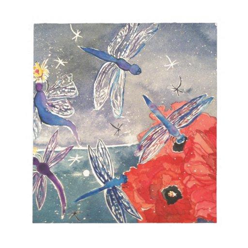 Ninfas y pintura de la acuarela de la libélula bloc