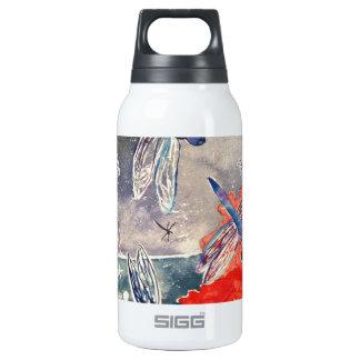 Ninfas y pintura de la acuarela de la libélula botella isotérmica de agua