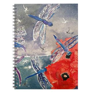 Ninfas y pintura de la acuarela de la libélula libretas espirales