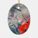 Ninfas y pintura de la acuarela de la libélula ornamento para arbol de navidad
