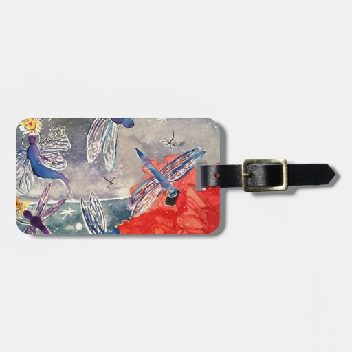 Ninfas y pintura de la acuarela de la libélula etiqueta para maleta