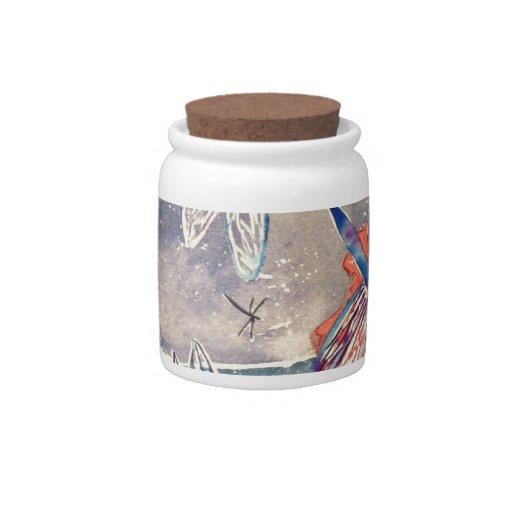 Ninfas y pintura de la acuarela de la libélula tarro de cerámica para dulces