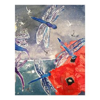Ninfas y pintura de la acuarela de la libélula plantillas de membrete