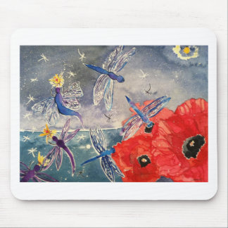 Ninfas y pintura de la acuarela de la libélula mouse pads