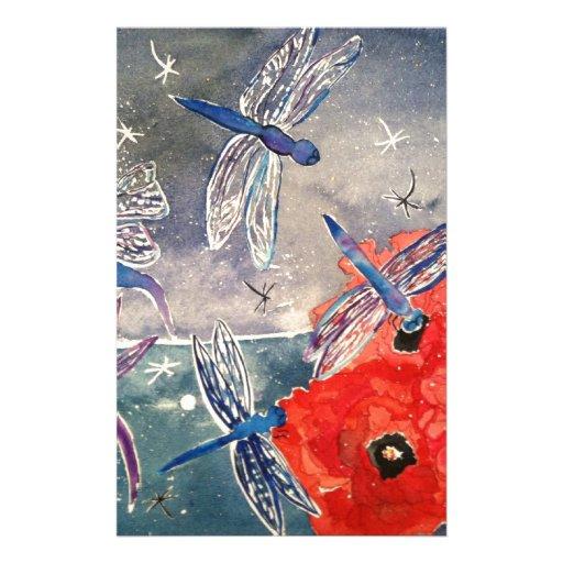 Ninfas y pintura de la acuarela de la libélula papeleria de diseño