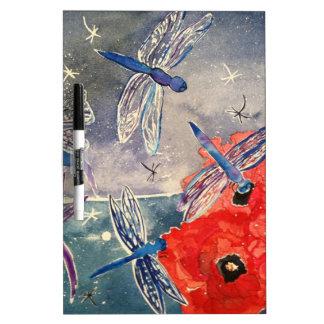 Ninfas y pintura de la acuarela de la libélula tableros blancos