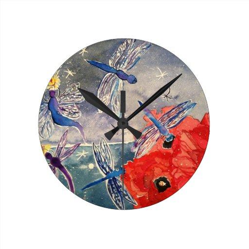 Ninfas y pintura de la acuarela de la libélula reloj de pared