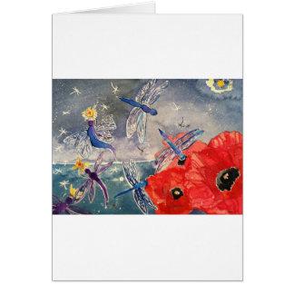 Ninfas y pintura de la acuarela de la libélula felicitación