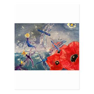 Ninfas y pintura de la acuarela de la libélula tarjeta postal