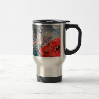Ninfas y pintura de la acuarela de la libélula taza de café