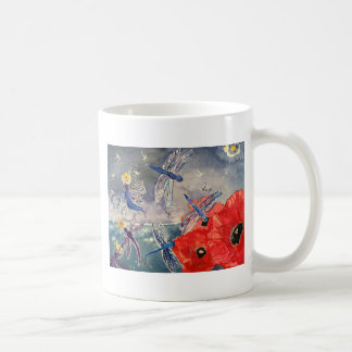 Ninfas y pintura de la acuarela de la libélula tazas de café