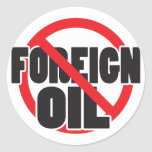 Ningún aceite extranjero pegatina redonda