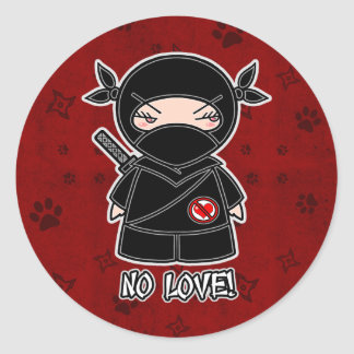 ¡Ningún amor! Ninja en pegatina rojo