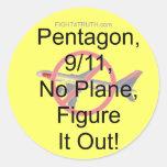 Ningún avión, 9/11, Pentágono, lo imagina Pegatina Redonda