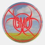 Ningún Biohazard de los pegatinas de GMO que Pegatinas Redondas