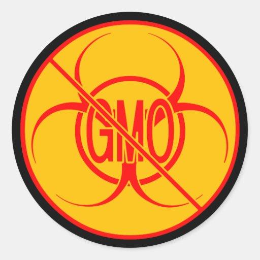 Ningún Biohazard de los pegatinas de GMO que Pegatina Redonda