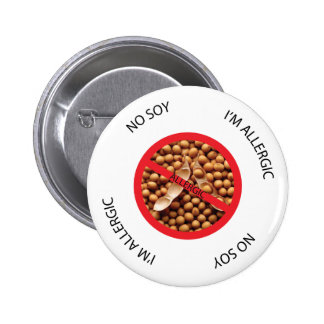 Ningún botón de la alarma de la alergia de la soja pin redondo de 2 pulgadas