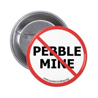 Ningún botón de la mina del guijarro pin redondo de 2 pulgadas