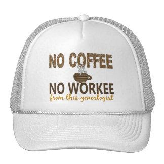 Ningún café ningún Genealogist de Workee Gorros Bordados