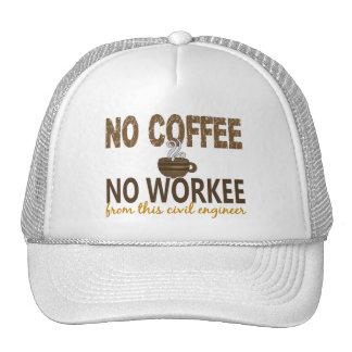 Ningún café ningún ingeniero civil de Workee Gorras