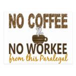 Ningún café ningún Paralegal de Workee Postales