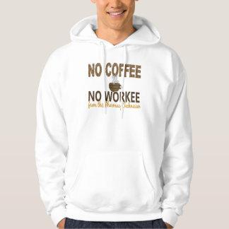 Ningún café ningún técnico de la farmacia de pulóver con capucha