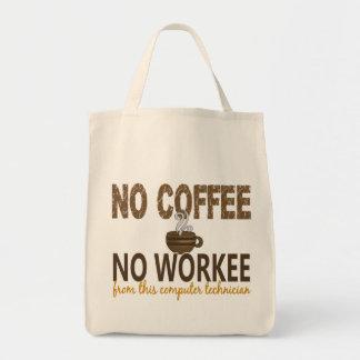 Ningún café ningún técnico del ordenador de Workee Bolsa Tela Para La Compra