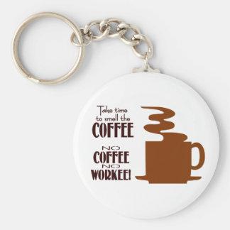 Ningún café ningún Workee Llavero Redondo Tipo Pin