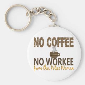 Ningún café ninguna mujer de la policía de Workee Llaveros Personalizados
