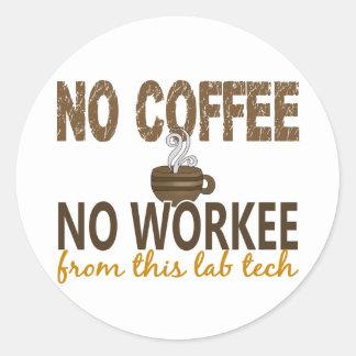 Ningún café ninguna tecnología del laboratorio de pegatinas redondas