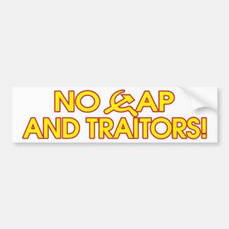 ¡Ningún casquillo y traidores! Pegatina De Parachoque