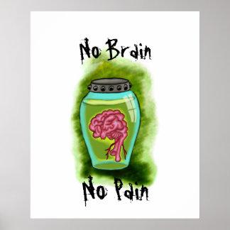 Ningún cerebro ningún poster del dolor póster