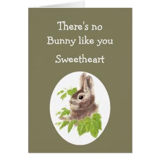 Ningún conejito tiene gusto de usted de amar el tarjeta de felicitación