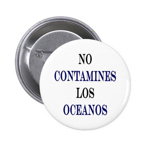 Ningún Contamines Los Oceanos Pin Redondo 5 Cm