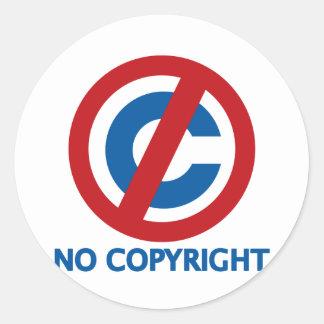 Ningún Copyright Pegatina Redonda