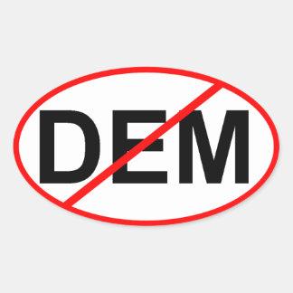 Ningún DEM Pegatina Ovalada