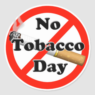 Ningún día del tabaco pegatina redonda