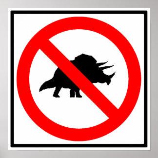 Ningún dinosaurio de la muestra de la carretera de poster