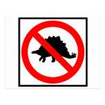 Ningún dinosaurio de la muestra de la carretera de postal