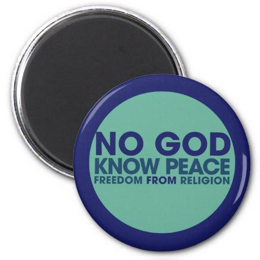 Ningún dios sabe paz imán de frigorifico