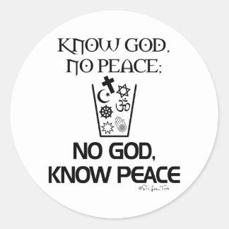 Ningún dios, sabe paz pegatina redonda